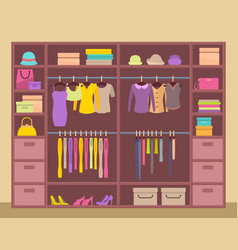 Huge upboard with varied clothes color banner vector