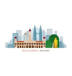 Kuala lumpur malaysia landmarks skyline vector