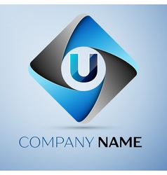 Letter U logo symbol in the colorful rhombus vector