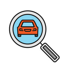 Magnifying glass with car color icon vector