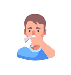 Man covering his nose and mouth when sneezing vector