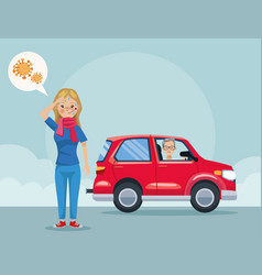 Man in car polluting and girl sick scene vector