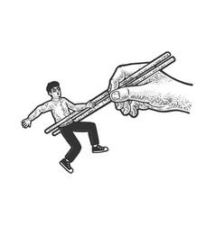 man on chopstocks line art sketch vector image