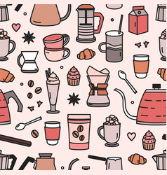 Modern seamless pattern with tools and utensils vector