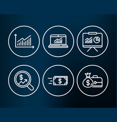 Money transfer presentation and graph icons vector