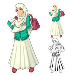 Muslim Girl Fashion Wearing Veil or Scarf vector