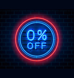 Neon 0 sale text banner night sign vector