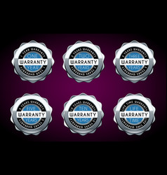 one year to five years warranty silver badges set vector image