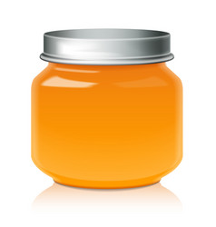 Orange glass jar mock up for honey jam jelly or vector