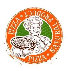 Pizza logo design template cooking vector