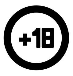 plus eighteen 18 black icon in circle vector image