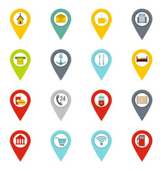 Points of interest icons set in flat style vector