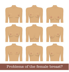 Problems female breast set vector