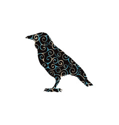 Raven bird spiral pattern color silhouette animal vector