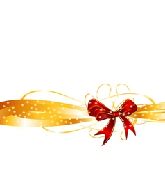 Red bow on a golden ribbon background vector image