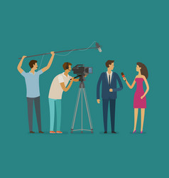 Reportage television concept crew or journalist vector