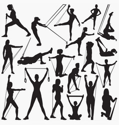 Resistanance band exercise silhouettes vector