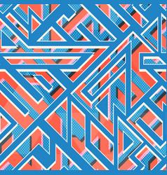 retro blue geometri seamless pattern vector image