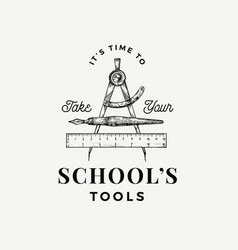 retro school tools abstract sign symbol or vector image