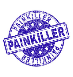 Scratched textured painkiller stamp seal vector