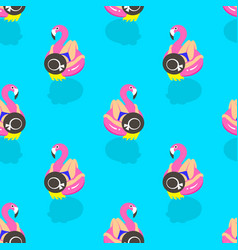Seamless pattern with girls on an inflatable pink vector