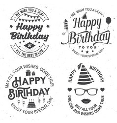 set happy birthday templates for overlay badge vector image