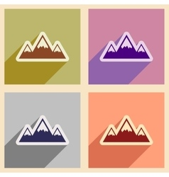 Set of flat web icons with long shadow mountains vector