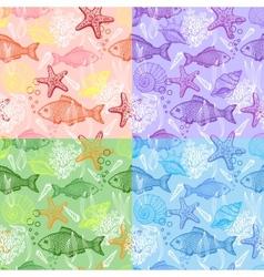 Set of sea hand drawn seamless pattern vector image