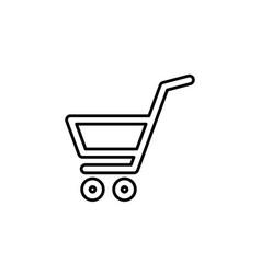 shopping cart basket line icon black on white vector image