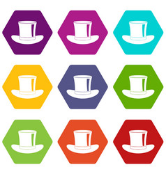 silk hat icon set color hexahedron vector image