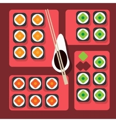 Sushi table on color background flat style vector