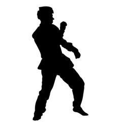 Taekwondo fighter silhouette sport man vector