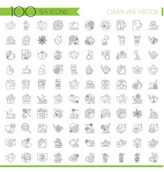 tea line icon set - cup bag kettle with spices vector image