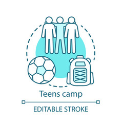 Teenager camp concept icon summer youngster club vector