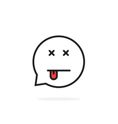 thin line dead emoji speech bubble logo vector image