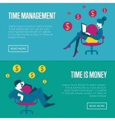 Time management horizontal website templates vector