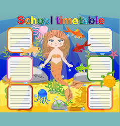 Timetable with days of weeks for school schedule vector