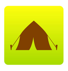 tourist tent sign brown icon at green vector image