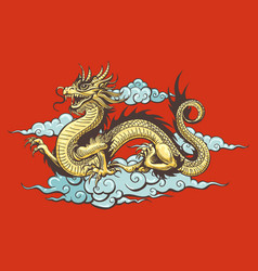 Traditional chinese dragon in sky vector