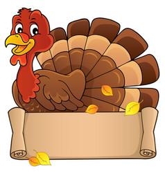 turkey bird with banner theme 1 vector image