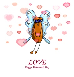 Valentine card with a fly male vector image
