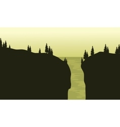 View of waterfall silhouette with green background vector image