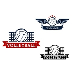 Volleyball emblems with game items vector image