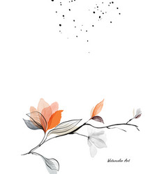 watercolor art nature with branches leaves vector image