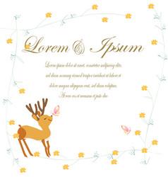 wedding card deer in spring theme vector image