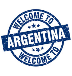Welcome to argentina blue stamp vector