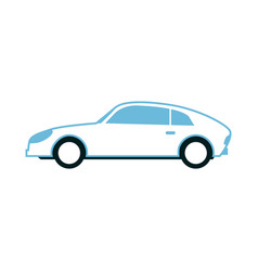 white sport sedan car side view in flat style vector image