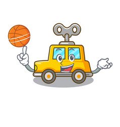 With basketball character clockwork car for toy vector