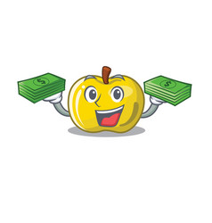 With money bag yellow apple isolated vector