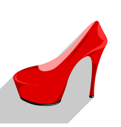 womens red patent leather shoe with shadow vector image
